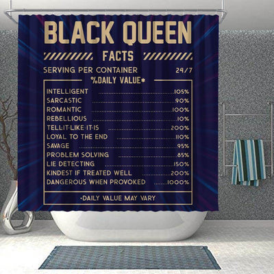 BigProStore Trendy Black Queen Facts Funny African American Art Shower Curtains Afrocentric Style Designs BPS092 Shower Curtain