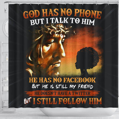 BigProStore Trendy God Has No Phone But I Talk To Him Natural Girl African American Bathroom Shower Curtains African Bathroom Accessories BPS124 Shower Curtain