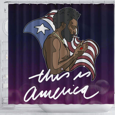 BigProStore Trendy This Is America Childish Gambino US Flag Black History Shower Curtains Afro Bathroom Decor BPS227 Shower Curtain