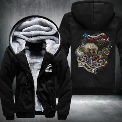 BigProStore USMC Fleece Hoodie Mens Womens All Over Print US Marine Corps Shirt Pullover Hooded Sweatshirt BPS197 Black / S Fleece Hoodie