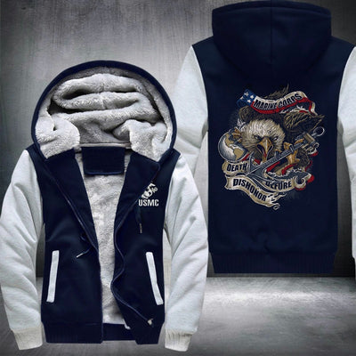 BigProStore USMC Fleece Hoodie Mens Womens All Over Print US Marine Corps Shirt Pullover Hooded Sweatshirt BPS197 Navy / S Fleece Hoodie