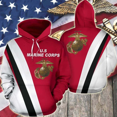 BigProStore USMC Hoodie Mens Womens All Over Print US Marine Corps Shirt Pullover Hooded Sweatshirt BPS805 3D Printed Hoodie / S 3D Printed Shirt