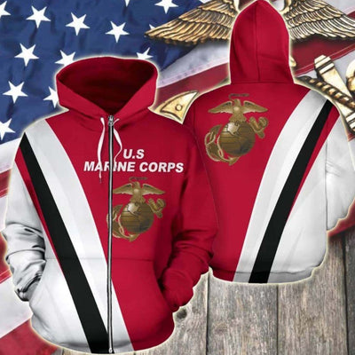 BigProStore USMC Hoodie Mens Womens All Over Print US Marine Corps Shirt Pullover Hooded Sweatshirt BPS805 3D Printed Zipped Hoodie / S 3D Printed Shirt