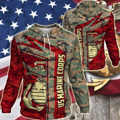 BigProStore USMC Hoodie Mens Womens All Over Print US Marine Corps Shirt Pullover Hooded Sweatshirt BPS836 3D Printed Hoodie / S 3D Printed Shirt