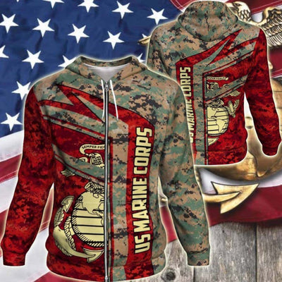 BigProStore USMC Hoodie Mens Womens All Over Print US Marine Corps Shirt Pullover Hooded Sweatshirt BPS836 3D Printed Zipped Hoodie / S 3D Printed Shirt