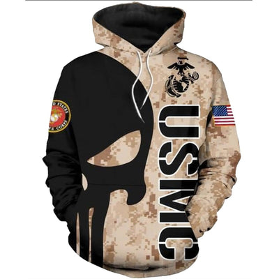 BigProStore USMC Hoodie Mens Womens All Over Print US Marine Corps Shirt Pullover Hooded Sweatshirt BPS855 3D Printed Shirt