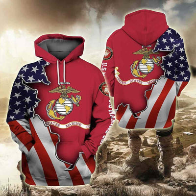 BigProStore USMC Hoodie Mens Womens All Over Print US Marine Corps Shirt Pullover Hooded Sweatshirt BPS893 3D Printed Hoodie / S 3D Printed Shirt