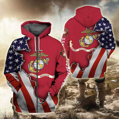BigProStore USMC Hoodie Mens Womens All Over Print US Marine Corps Shirt Pullover Hooded Sweatshirt BPS893 3D Printed Zipped Hoodie / S 3D Printed Shirt