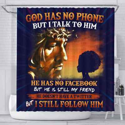 BigProStore Unique God Has No Phone But I Talk To Him Natural Girl Afrocentric Shower Curtains Afro Bathroom Accessories BPS124 Small (165x180cm | 65x72in) Shower Curtain