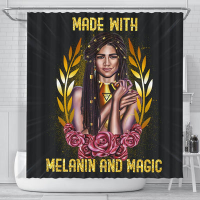 BigProStore Unique Made With Melanin And Magic Afro Girl Black History Shower Curtains Afrocentric Style Designs BPS151 Small (165x180cm | 65x72in) Shower Curtain