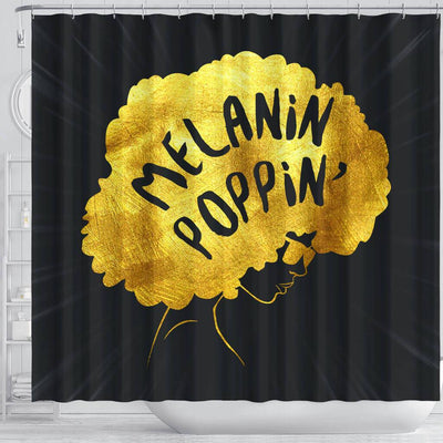 BigProStore Unique Melanin Poppin' Afro Girl African American Bathroom Shower Curtains Afro Bathroom Accessories BPS161 Shower Curtain