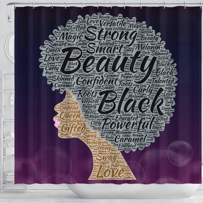 BigProStore Unique Strong Smart Beauty Black Powerful Afro Woman African American Bathroom Shower Curtains Afrocentric Bathroom Accessories BPS213 Shower Curtain