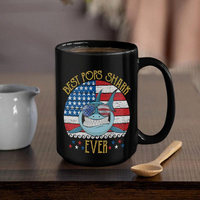 BigProStore Vingate Best Pops Shark Ever Coffee Mug Blue Shark Wearing Sunglasses Version BPS551 Black / 15oz Coffee Mug