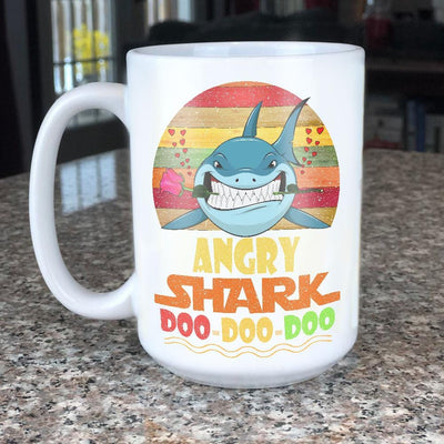 BigProStore Vintage Angry Shark Doo Doo Doo Coffee Mug Retro Shark And Rose Womens Custom Father's Day Mother's Day Gift Idea BPS447 White / 15oz Coffee Mug