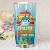 BigProStore Vintage Athletic Shark Doo Doo Doo Tumbler Retro Shark And Rose Womens Custom Father's Day Mother's Day Gift Idea BPS244 White / 20oz Steel Tumbler