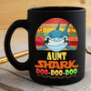 BigProStore Vintage Aunt Shark Doo Doo Doo Coffee Mug Retro Shark And Rose Womens Custom Father's Day Mother's Day Gift Idea BPS359 Black / 11oz Coffee Mug