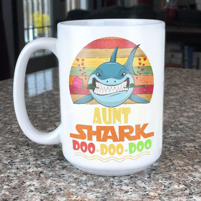 BigProStore Vintage Aunt Shark Doo Doo Doo Coffee Mug Retro Shark And Rose Womens Custom Father's Day Mother's Day Gift Idea BPS359 White / 15oz Coffee Mug