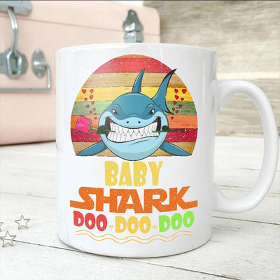 BigProStore Vintage Bay Shark Doo Doo Doo Coffee Mug Retro Shark And Rose Womens Custom Father's Day Mother's Day Gift Idea BPS756 White / 11oz Coffee Mug