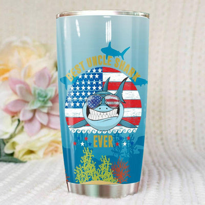 BigProStore Vintage Best Papa Shark Ever Tumbler Blue Shark Wearing Sunglasses Version BPS311 White / 20oz Steel Tumbler