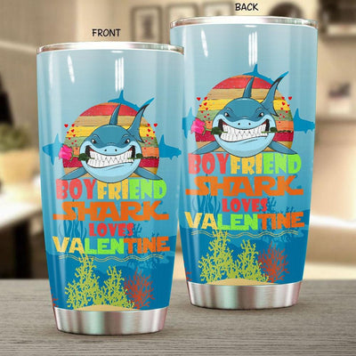 BigProStore Vintage Boyfriend Shark Doo Doo Doo Tumbler Retro Shark And Rose Womens Custom Father's Day Mother's Day Gift Idea BPS141 White / 20oz Steel Tumbler