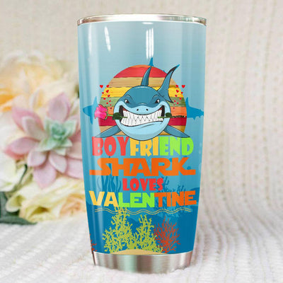 BigProStore Vintage Boyfriend Shark Doo Doo Doo Tumbler Retro Shark And Rose Womens Custom Father's Day Mother's Day Gift Idea BPS163 White / 20oz Steel Tumbler