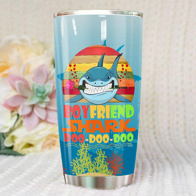 BigProStore Vintage Boyfriend Shark Doo Doo Doo Tumbler Retro Shark And Rose Womens Custom Father's Day Mother's Day Gift Idea BPS693 White / 20oz Steel Tumbler