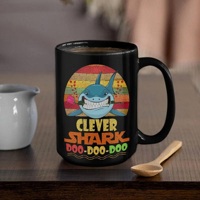 BigProStore Vintage Clever Shark Doo Doo Doo Coffee Mug Retro Shark And Rose Womens Custom Father's Day Mother's Day Gift Idea BPS748 Black / 15oz Coffee Mug