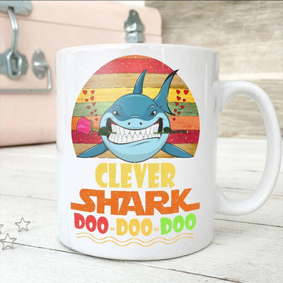 BigProStore Vintage Clever Shark Doo Doo Doo Coffee Mug Retro Shark And Rose Womens Custom Father's Day Mother's Day Gift Idea BPS748 White / 11oz Coffee Mug