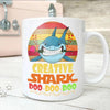BigProStore Vintage Creative Shark Doo Doo Doo Coffee Mug Retro Shark And Rose Womens Custom Father's Day Mother's Day Gift Idea BPS241 White / 11oz Coffee Mug