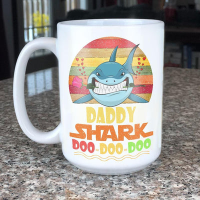 BigProStore Vintage Daddy Shark Doo Doo Doo Coffee Mug Retro Shark And Rose Mens Custom Father's Day Mother's Day Gift Idea BPS367 White / 15oz Coffee Mug