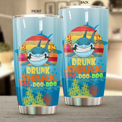 BigProStore Vintage Drunk Shark Doo Doo Doo Tumbler Retro Shark And Rose Womens Custom Father's Day Mother's Day Gift Idea BPS362 White / 20oz Steel Tumbler