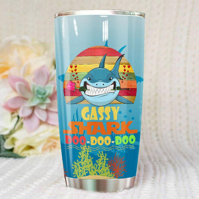 BigProStore Vintage Gassy Shark Doo Doo Doo Tumbler Retro Shark And Rose Womens Custom Father's Day Mother's Day Gift Idea BPS763 White / 20oz Steel Tumbler