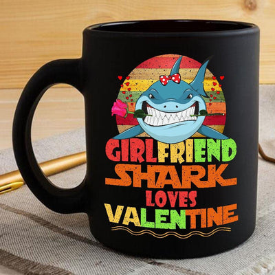 BigProStore Vintage Girlfriend Shark Doo Doo Doo Coffee Mug Retro Shark And Rose Womens Custom Father's Day Mother's Day Gift Idea BPS722 Black / 11oz Coffee Mug