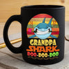 BigProStore Vintage Grandpa Shark Doo Doo Doo Coffee Mug Retro Shark And Rose Mens Custom Father's Day Mother's Day Gift Idea BPS579 Black / 11oz Coffee Mug