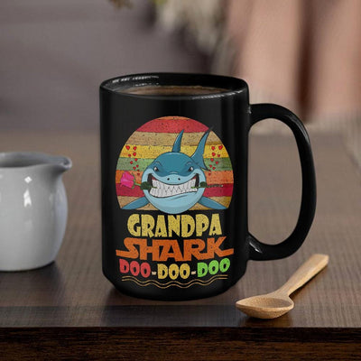 BigProStore Vintage Grandpa Shark Doo Doo Doo Coffee Mug Retro Shark And Rose Mens Custom Father's Day Mother's Day Gift Idea BPS579 Black / 15oz Coffee Mug