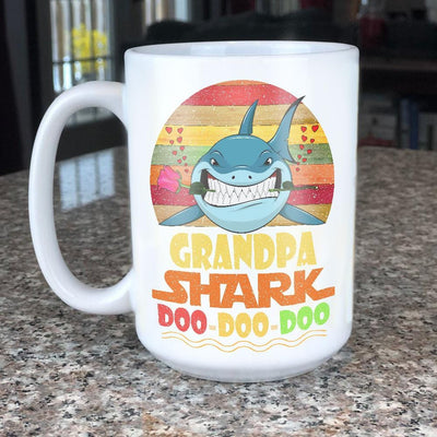BigProStore Vintage Grandpa Shark Doo Doo Doo Coffee Mug Retro Shark And Rose Mens Custom Father's Day Mother's Day Gift Idea BPS579 White / 15oz Coffee Mug