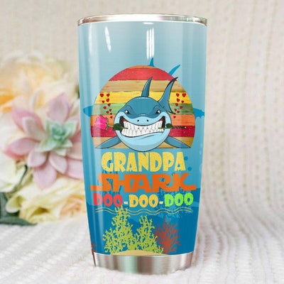 BigProStore Vintage Grandpa Shark Doo Doo Doo Tumbler Retro Shark And Rose Mens Custom Father's Day Mother's Day Gift Idea BPS579 White / 20oz Steel Tumbler