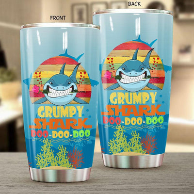 BigProStore Vintage Grumpy Shark Doo Doo Doo Tumbler Retro Shark And Rose Womens Custom Father's Day Mother's Day Gift Idea BPS772 White / 20oz Steel Tumbler