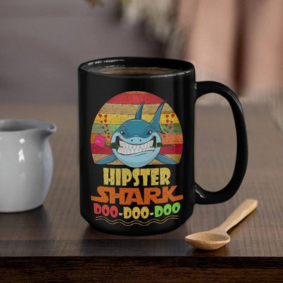 BigProStore Vintage Hipster Shark Doo Doo Doo Coffee Mug Retro Shark And Rose Womens Custom Father's Day Mother's Day Gift Idea BPS455 Black / 15oz Coffee Mug