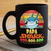 BigProStore Vintage Papa Shark Doo Doo Doo Coffee Mug Retro Shark And Rose Mens Custom Father's Day Mother's Day Gift Idea BPS482 Black / 11oz Coffee Mug