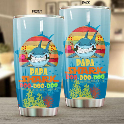 BigProStore Vintage Papa Shark Doo Doo Doo Tumbler Retro Shark And Rose Mens Custom Father's Day Mother's Day Gift Idea BPS482 White / 20oz Steel Tumbler