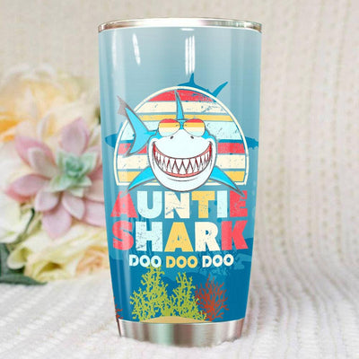 BigProStore Vintage Retro Auntie Shark Doo Doo Doo Tumbler Womens Custom Father's Day Mother's Day Gift Idea BPS515 White / 20oz Steel Tumbler