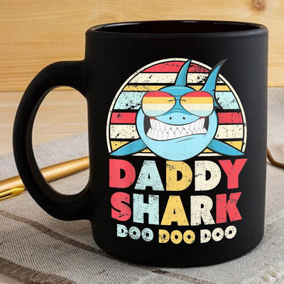 BigProStore Vintage Retro Daddy Shark Doo Doo Doo Coffee Mug Mens Custom Father's Day Mother's Day Gift Idea BPS212 Black / 11oz Coffee Mug