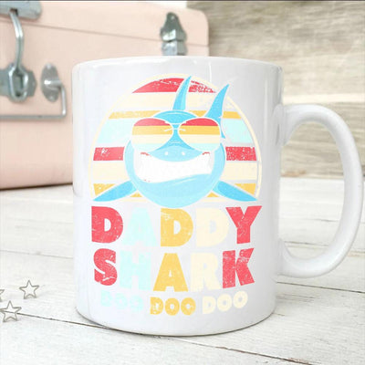 BigProStore Vintage Retro Daddy Shark Doo Doo Doo Coffee Mug Mens Custom Father's Day Mother's Day Gift Idea BPS212 White / 11oz Coffee Mug