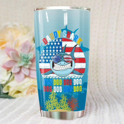 BigProStore Vintage Retro Daddy Shark Doo Doo Doo Tumbler Mens Custom Father's Day Mother's Day Gift Idea BPS368 White / 20oz Steel Tumbler