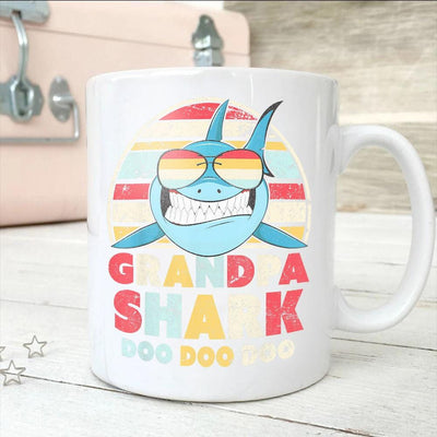 BigProStore Vintage Retro Grandpa Shark Doo Doo Doo Coffee Mug Mens Custom Father's Day Mother's Day Gift Idea BPS973 White / 11oz Coffee Mug