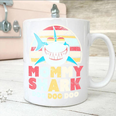 BigProStore Vintage Retro Mommy Shark Doo Doo Doo Coffee Mug Womens Custom Father's Day Mother's Day Gift Idea BPS305 White / 11oz Coffee Mug
