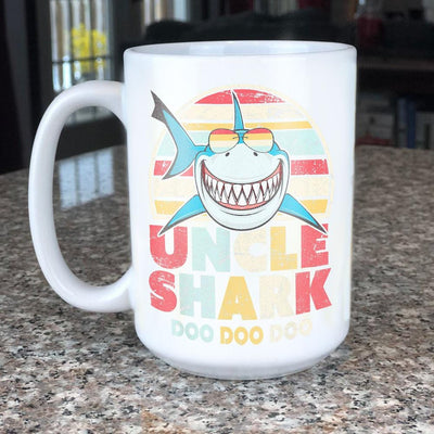 BigProStore Vintage Retro Uncle Shark Doo Doo Doo Coffee Mug Mens Custom Father's Day Mother's Day Gift Idea BPS389 White / 15oz Coffee Mug