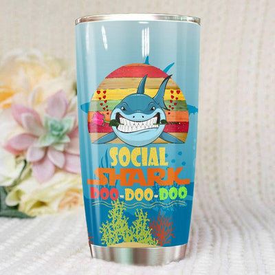BigProStore Vintage Social Shark Doo Doo Doo Tumbler Retro Shark And Rose Womens Custom Father's Day Mother's Day Gift Idea BPS564 White / 20oz Steel Tumbler