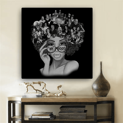 "BigProStore African American Canvas My Roots Famous People In My Head Proud Black History Month Funny Canvas Afrocentric Inspired Home Decor BPS639 Black / 8"" x 8"" Portrait Canvas"